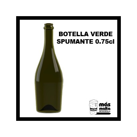 Caja de Botellas Verde, espumoso 0,75 -uso aliment-